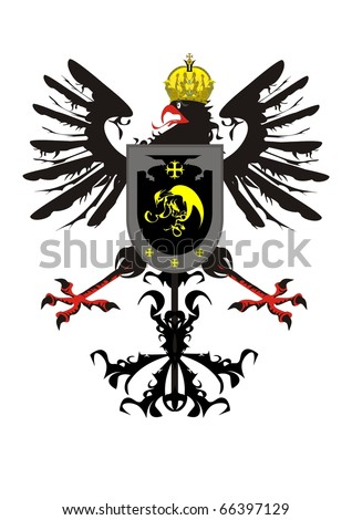 Heraldic eagle with a crown and a shield - stock vector