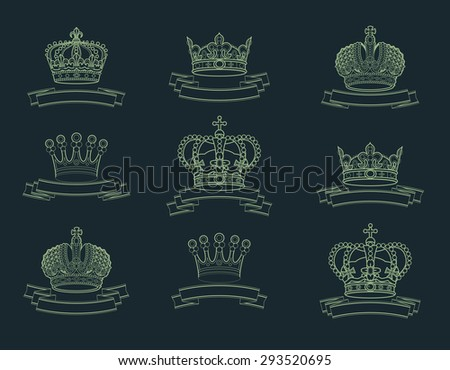 Heraldic elements. Crown, ribbon collection. - stock vector