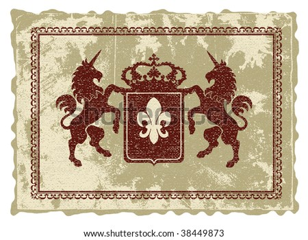 Heraldic emblem in medieval style. - stock vector