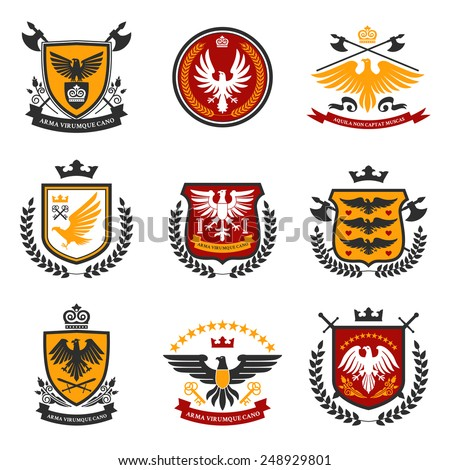 Heraldic emblems and shield set with eagle birds isolated vector illustration - stock vector