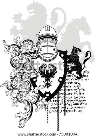 heraldic helmet coat of arms in vector format - stock vector