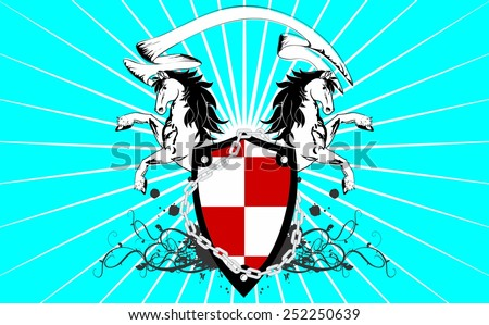 heraldic horse coat of arms background in vector format very easy to edit