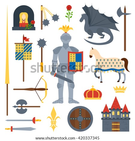 Heraldic knight symbols and elements vector set. Medieval kingdom legendary armored knight symbols warrior with lance and knight symbols attributes flat icons set abstract isolated vector. - stock vector