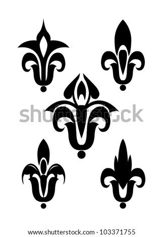 Heraldic lily vector silhouette isolated