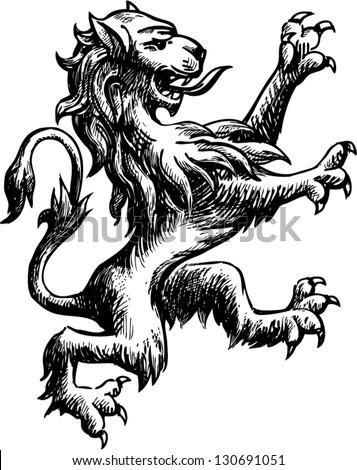 heraldic lion - stock vector