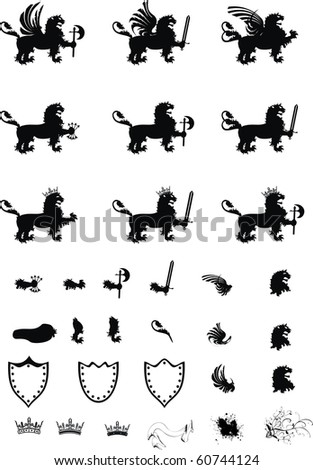 heraldic lion set in vector format very easy to edit - stock vector