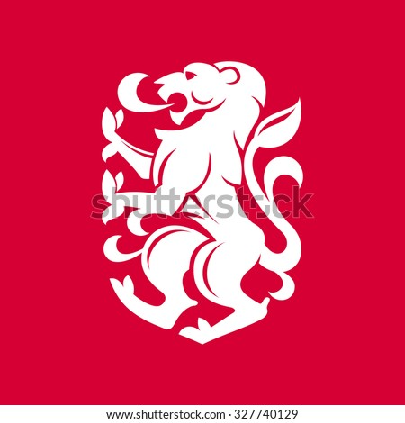 Heraldic lion. Vector flat vintage design template elements for your application or corporate identity. - stock vector
