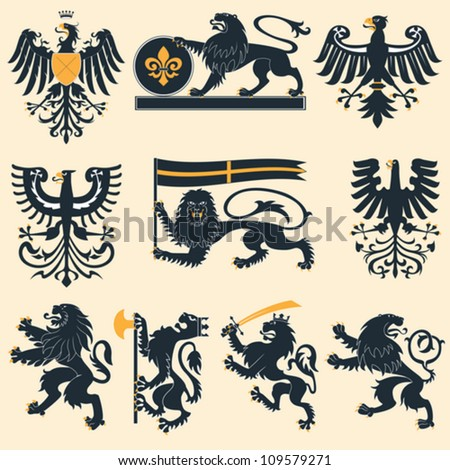 Heraldic lions and eagles set - stock vector