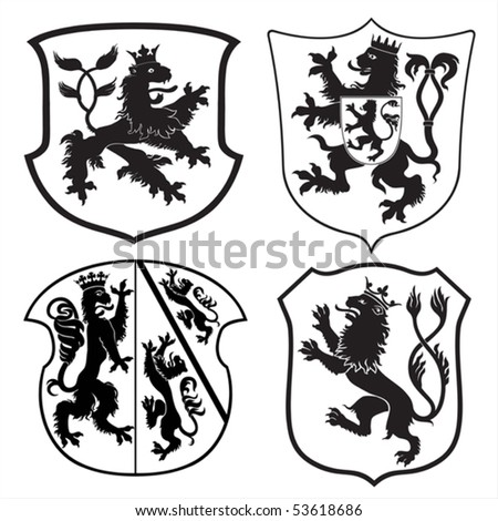 Heraldic lions & shields silhouettes - stock vector