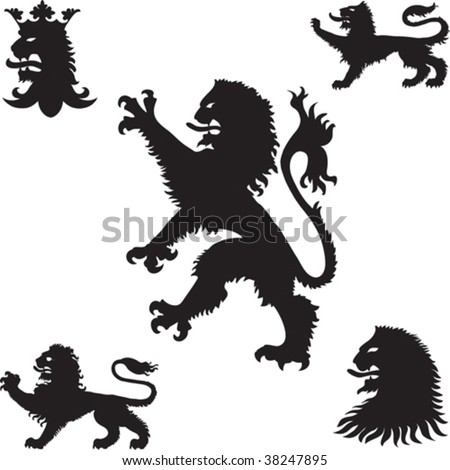 Heraldic lions silhouettes - stock vector