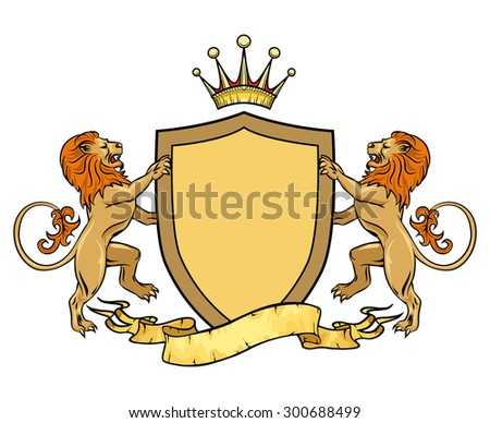 Heraldic lions with shield and ribbon. Emblem or badge template. Heraldic and crest, medieval royal logo. Vector illustration - stock vector