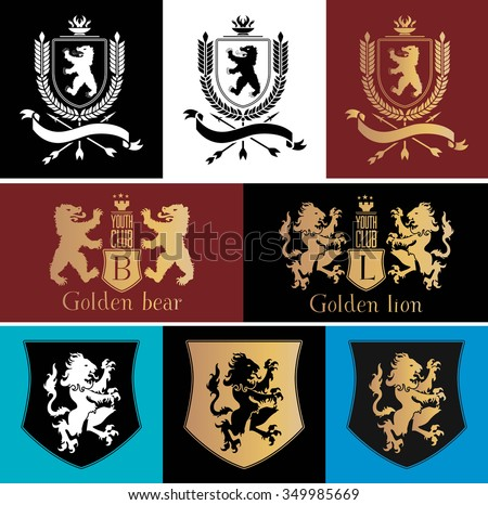 Heraldic logo badge design element. Vintage, Crests logo . Vintage old style logo icon template. Bear, lion logo. Retro old style shield icon. Royal lions, bears silhouettes set for heraldic design. - stock vector