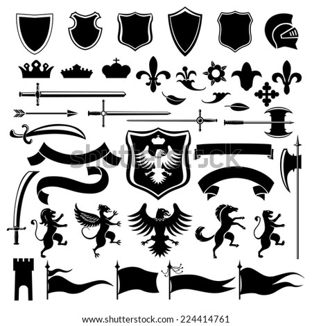 Heraldic medieval vintage set black decorative icons set with crown shield arabesque isolated vector illustration - stock vector