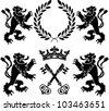 heraldic monsters. stencils. second variant. vector illustration - stock vector