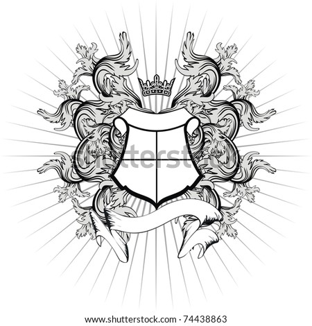 heraldic ornament copyspace in vector format - stock vector