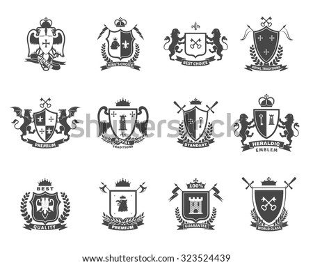 Heraldic premium quality black white emblems  set with royal traditions symbols flat isolated vector illustration  - stock vector