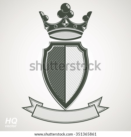Heraldic royal blazon illustration, imperial striped decorative coat of arms. Vector shield with king crown and stylized ribbon. Corporate majestic element, best for use in graphic and web design. - stock vector