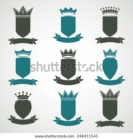 Heraldic royal blazon illustrations set - imperial striped decorative coat of arms. Collection of vector shields with king crown and stylish ribbon. Majestic element, graphic and web design. - stock vector