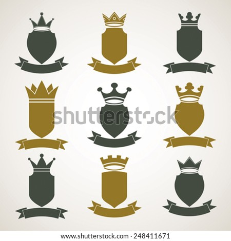 Heraldic royal blazon illustrations set, imperial striped decorative coat of arms. Collection of vector shields with king crown and stylish ribbon. Majestic element, graphic and web design. - stock vector