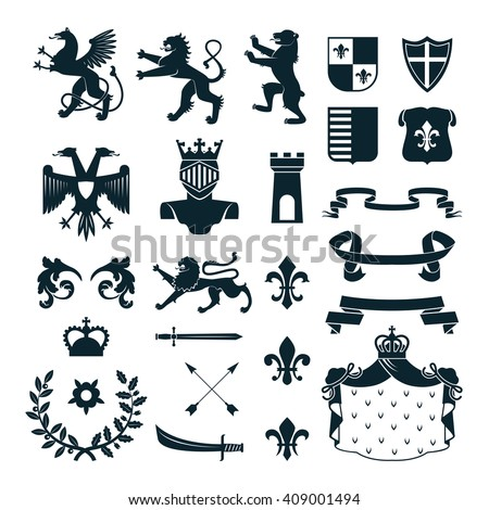 Heraldic Royal Symbols Emblems Design And Family Coat Of Arms Elements Collection Black Abstract Isolated Vector