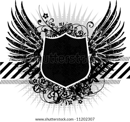 heraldic shield or badge, blank so you can add your own images