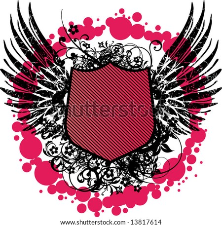 heraldic shield or badge, blank so you can add your own images 9 - stock vector