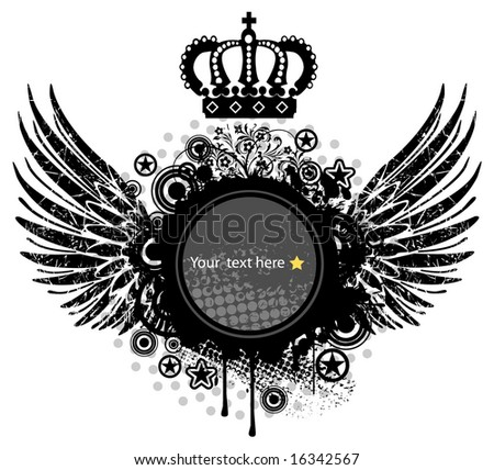 heraldic shield or badge with crown , blank so you can add your own images - stock vector