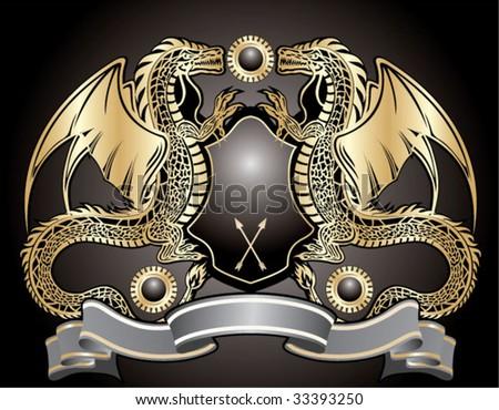 Heraldic sign. Golden dragon - stock vector