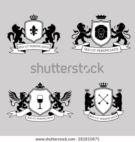 Heraldic signs, elements, insignia on bright background. Vector set - stock vector