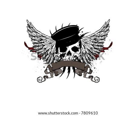 heraldic skull vector emblem - stock vector