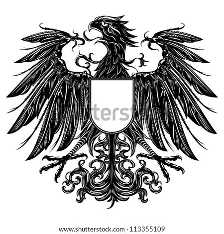 Heraldic style eagle isolated on white - stock vector