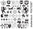 Heraldic symbols and crosses - stock vector