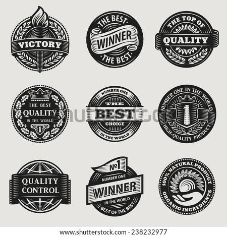Heraldic Vintage Sign Sticker Ribbon Vector Set
