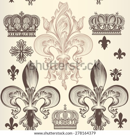 Heraldic wallpaper pattern with fleur de lis and crowns - stock vector