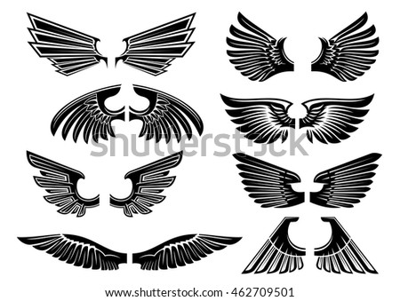 Heraldic wings of angel or bird black silhouettes of spread wings with tribal stylized plumage and pointed feathers. Heraldry theme or tattoo design