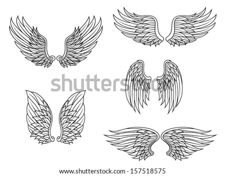 Heraldic wings set isolated on white background for design. Jpeg version also available in gallery - stock vector
