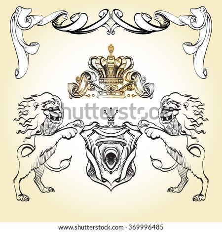 heraldry background for the logo, emblem, lion and shield cloth, crown decorative background vector - stock vector