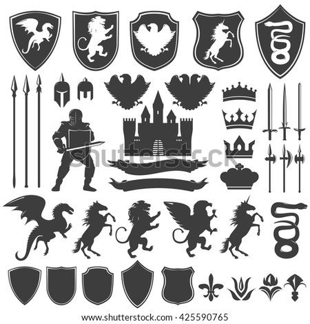 Heraldry decorative graphic icons set - stock vector