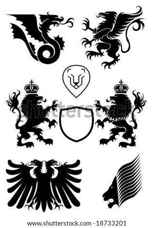 Heraldry design elements - stock vector
