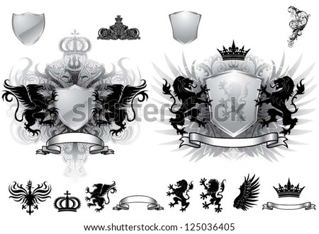 Heraldry gray crest - stock vector