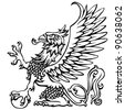 Heraldry griffin.Hand drawing outline griffin,black colored. - stock vector