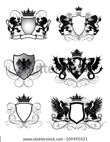 Heraldry set shield - stock vector