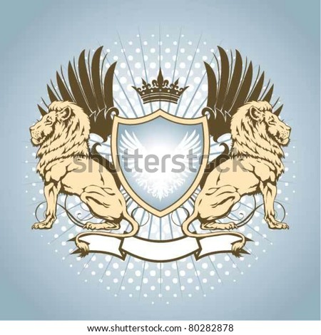 Heraldry shield with lion - stock vector