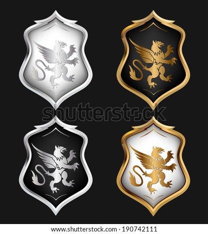 Heraldry Shields Set. Vector illustration - stock vector