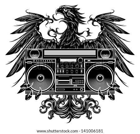 Heraldry style eagle holding a boombox t-shirt design - stock vector