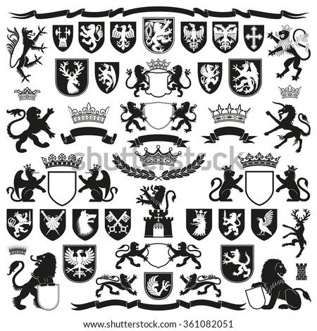 HERALDRY Symbols and Decorative Elements - stock vector