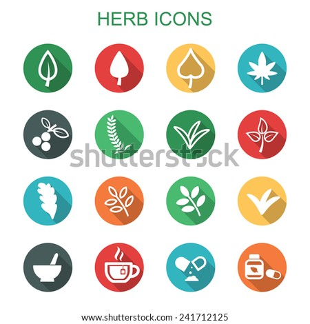 herb long shadow icons, flat vector symbols - stock vector