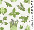 herb seamless pattern - stock vector