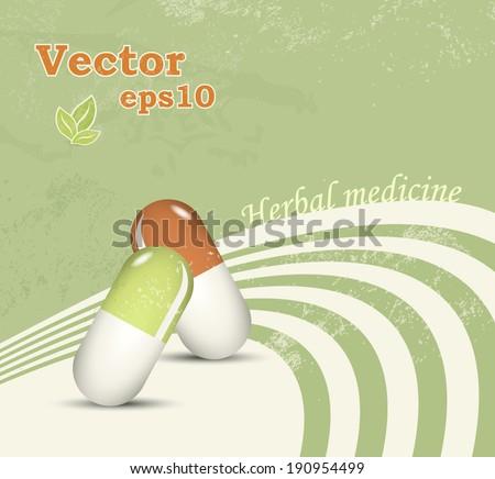 Herbal medicine - medical natural healthcare concept - alternative pharmaceutical - stock vector