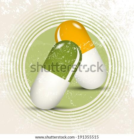 Herbal pills - natural pharmacy - stock vector